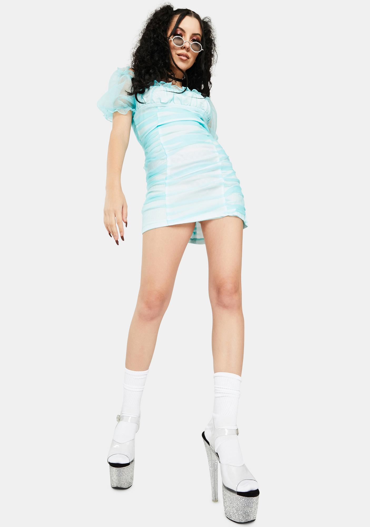 ZEMETA Minty Ruched Mini Dress