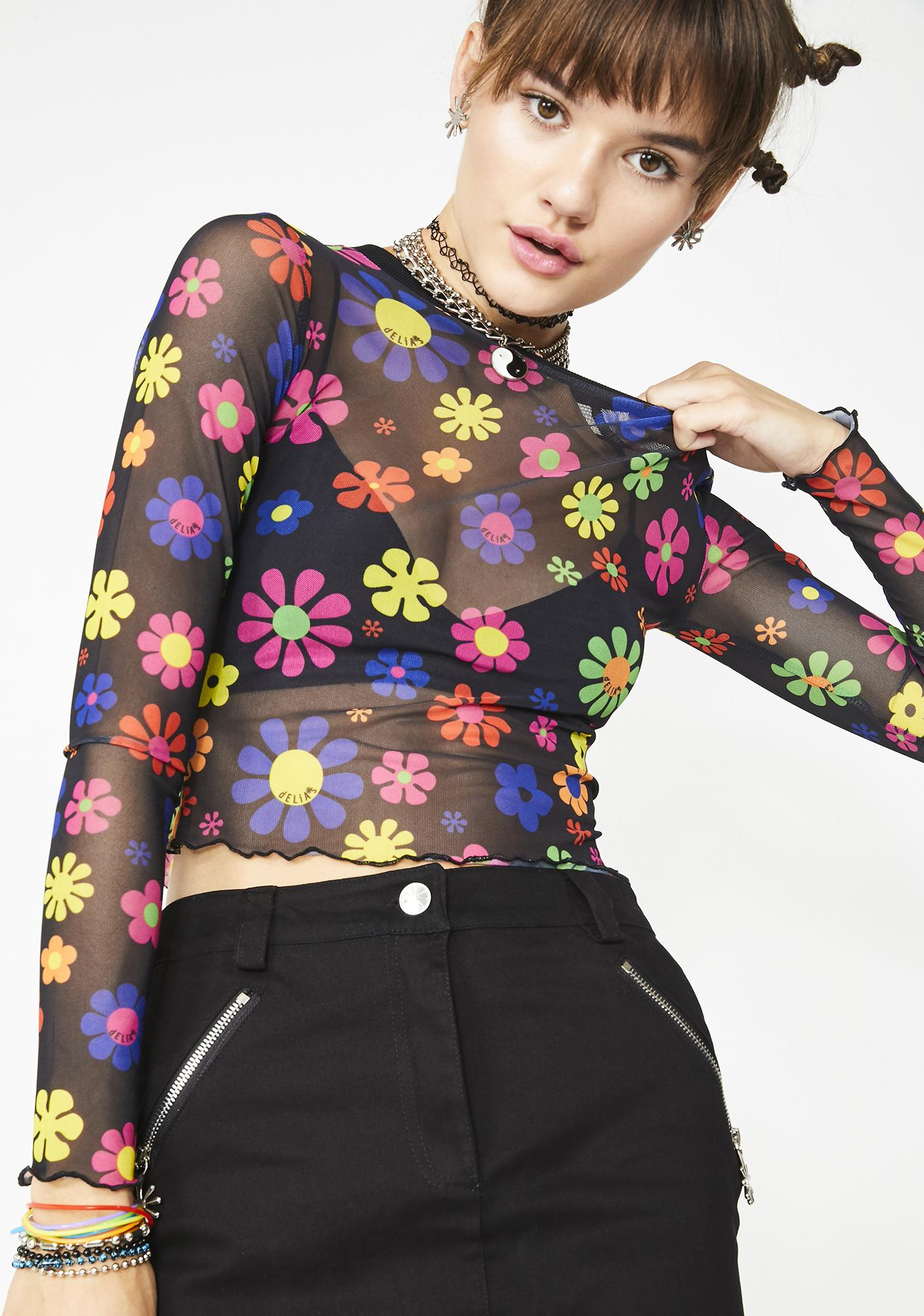 491a9d701496 dELiA s by Dolls Kill Flower Power Mesh Top