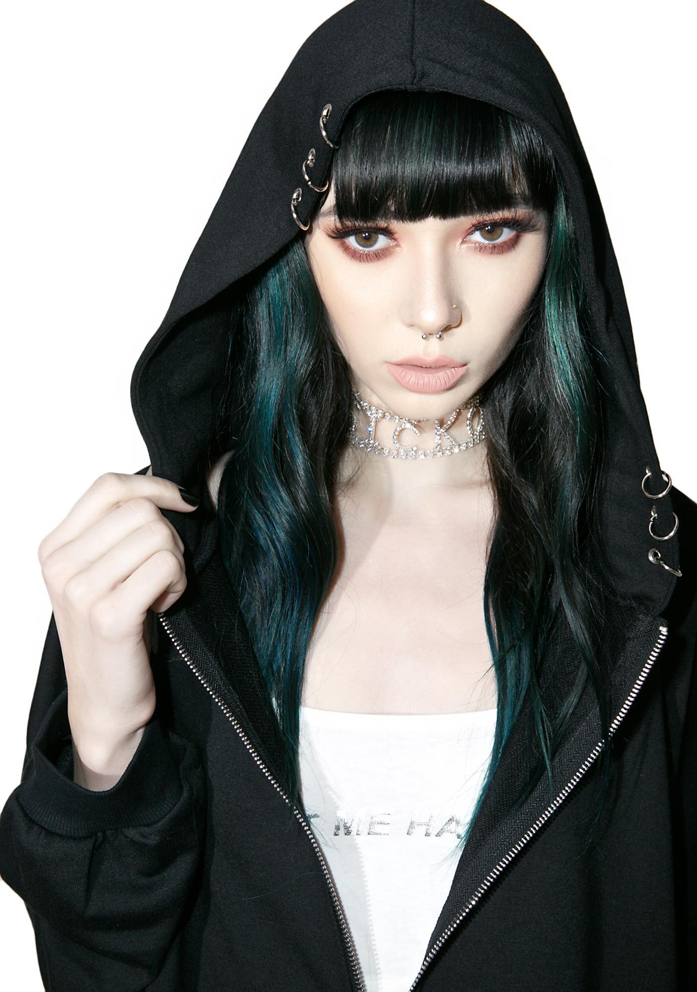 Onyx Pierced Me Zip Up Hoodie