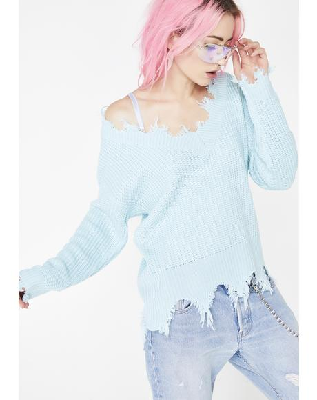 Sky Pickin' Posies Distressed Sweater