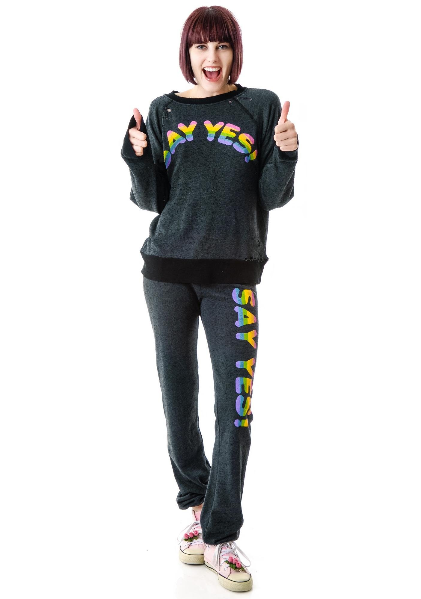 Wildfox Couture Say Yes Destroyed Sweater