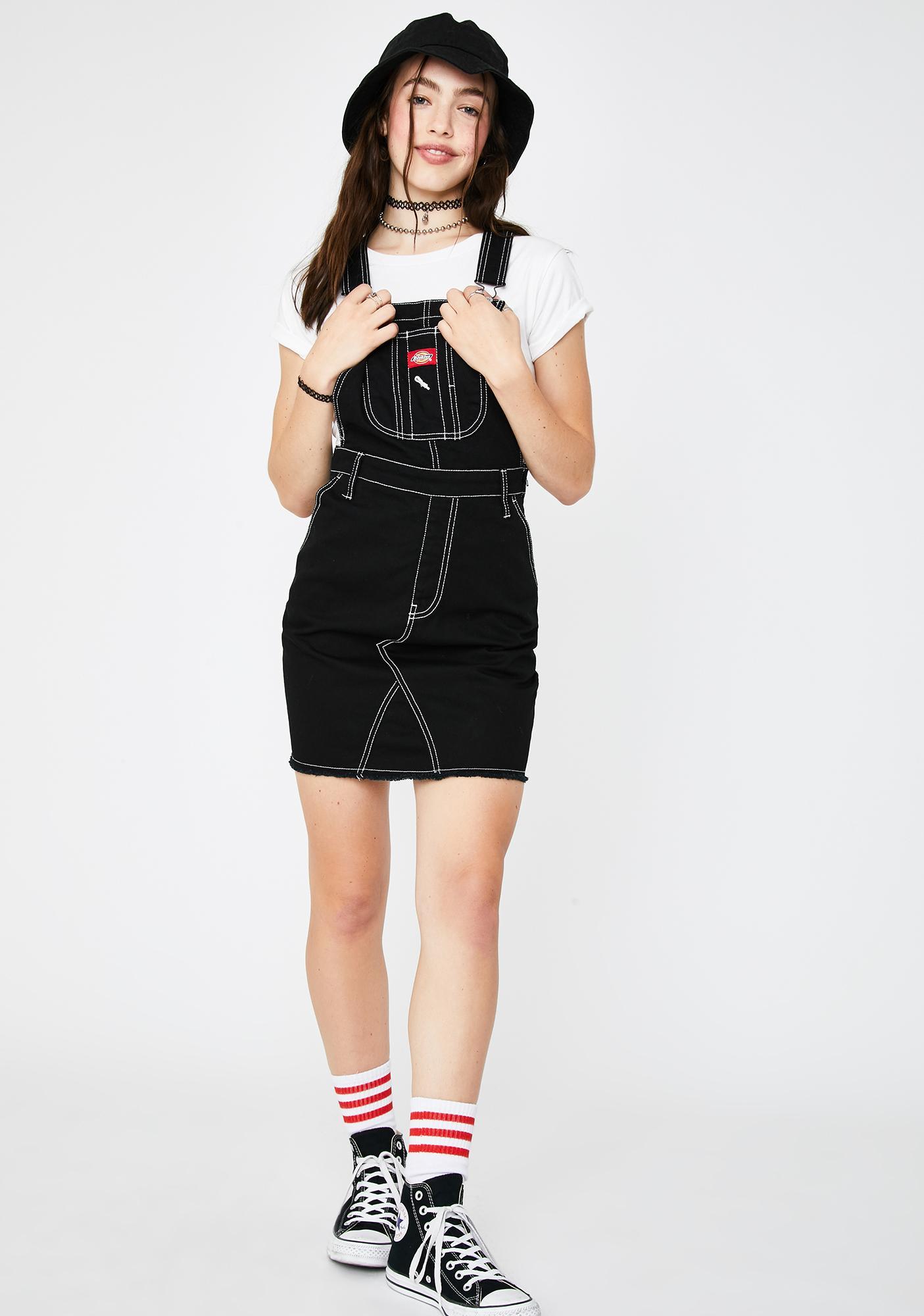 Dickies Girl Black Overall Mini Dress