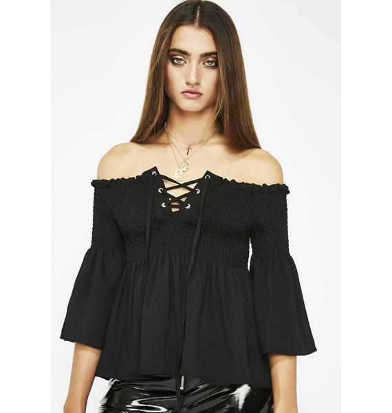 Flirt With Danger Lace Up Top