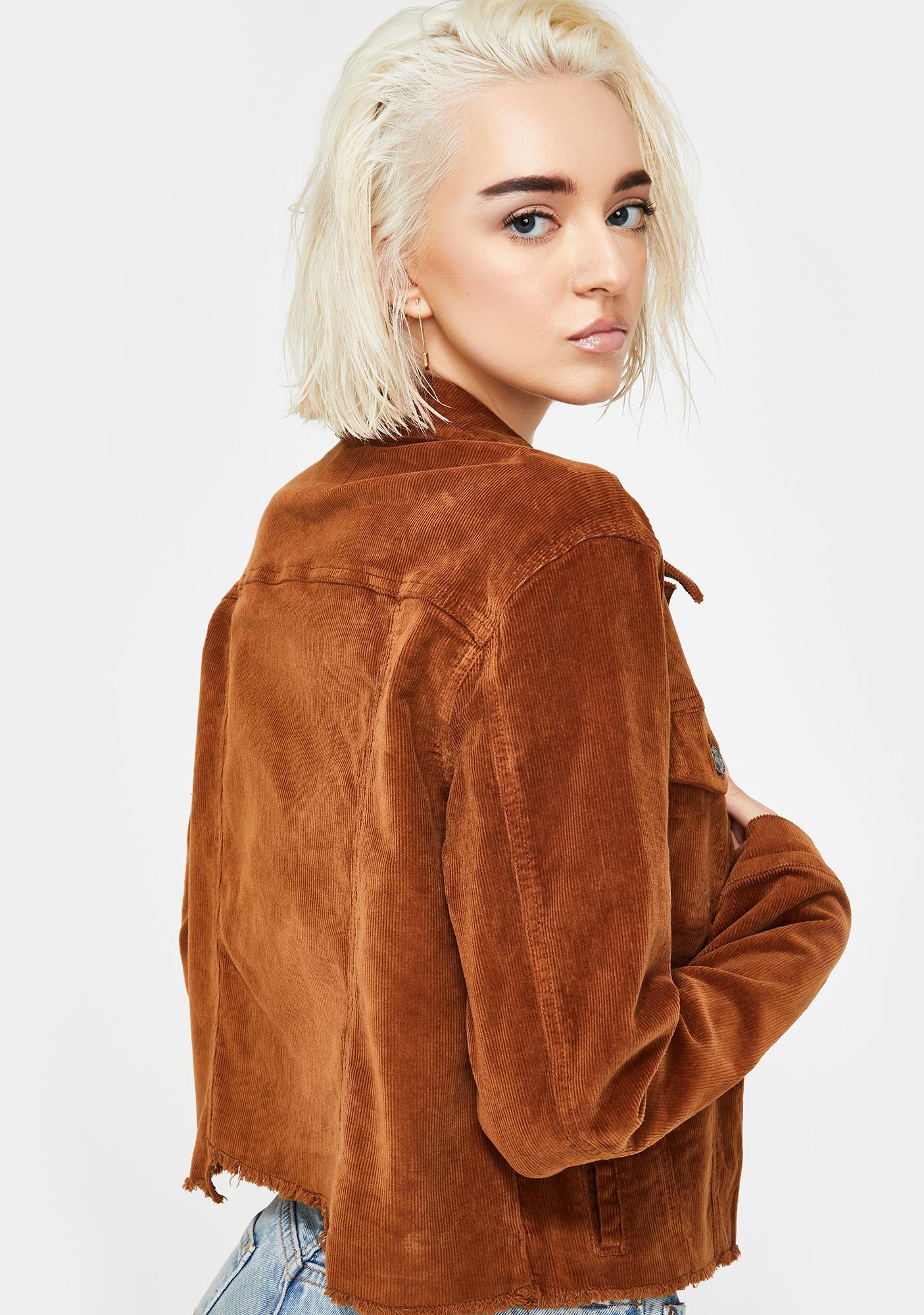 Hidden Denim Gold Corduroy Crop Jacket