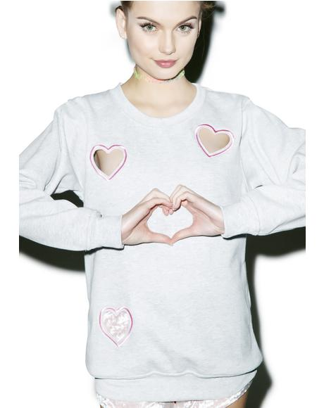 Transparent Heart Sweatshirt