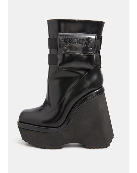 Kickdrum Leather Pocket Platform Wedge Boots