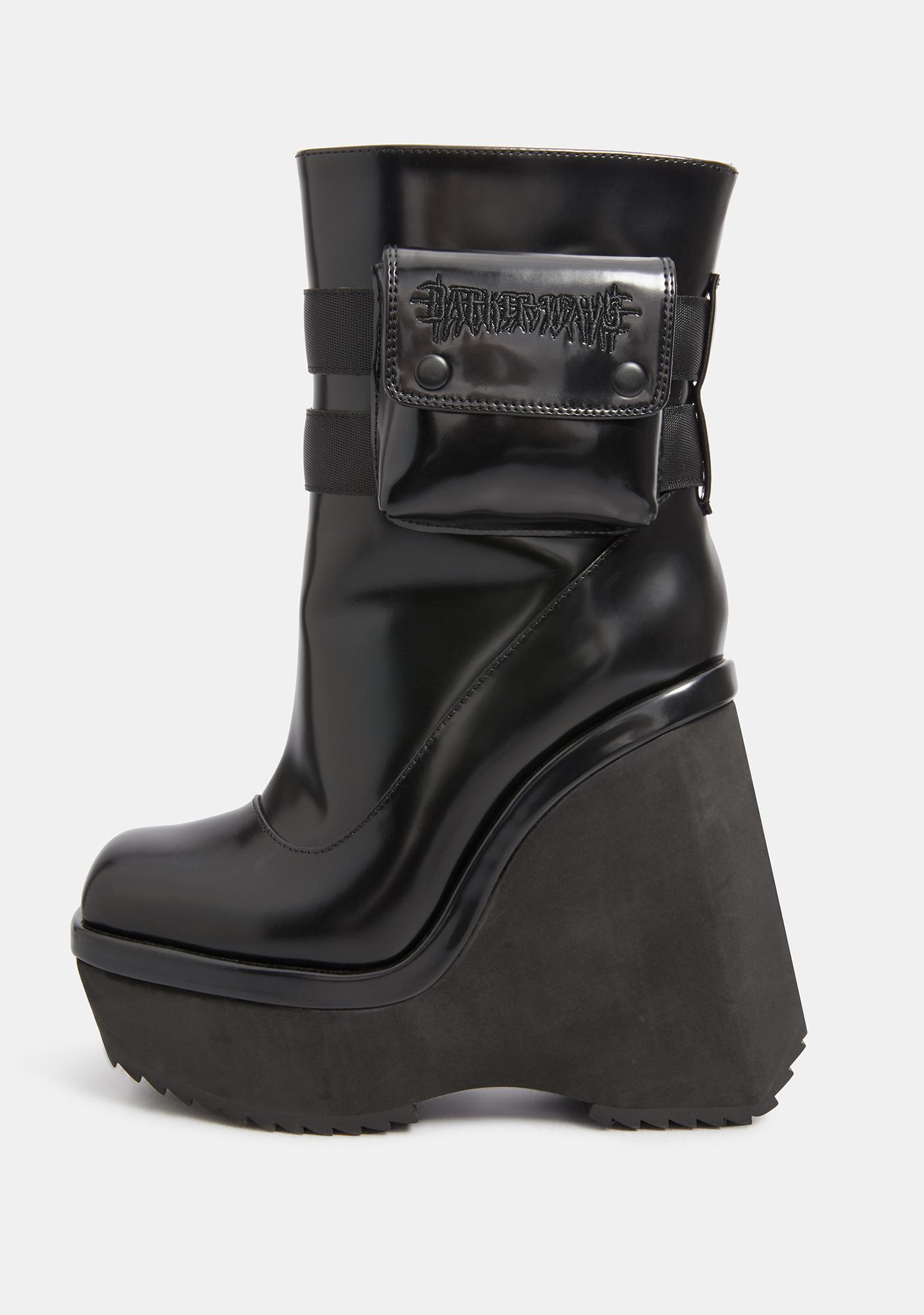 DARKER WAVS Kickdrum Leather Pocket Platform Wedge Boots