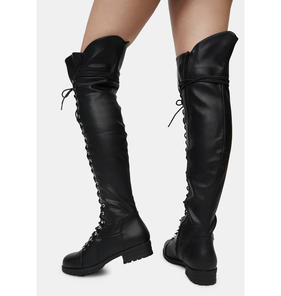 Patent Wild Harsh Fight Lace Up Boots
