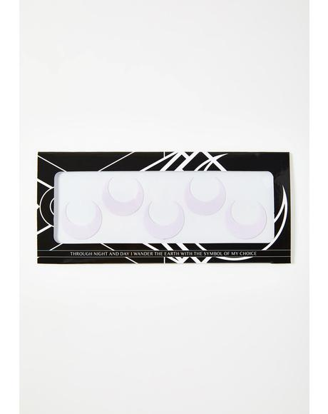 White Large Luna Face Stickers