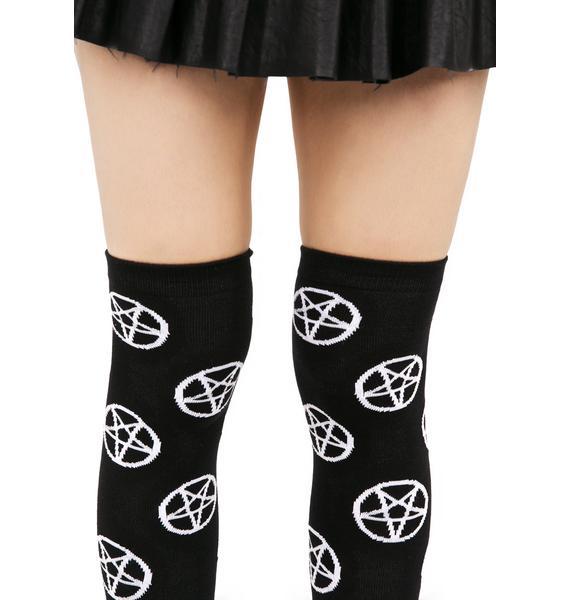 Killstar Pentagram Over The Knee Socks