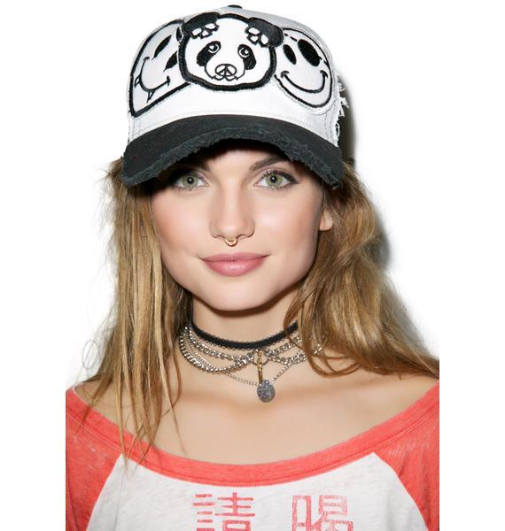 Lauren Moshi Jilly Skull Panda Patch Combo Trucker Hat