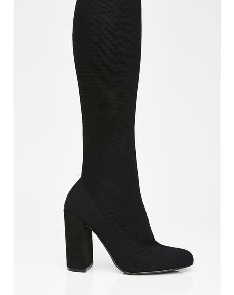 Midnight Beloved Knit Boots