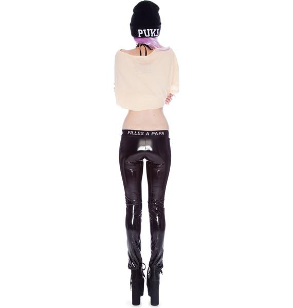 Filles A Papa Cybil Metal Zipper Vinyl Leggings