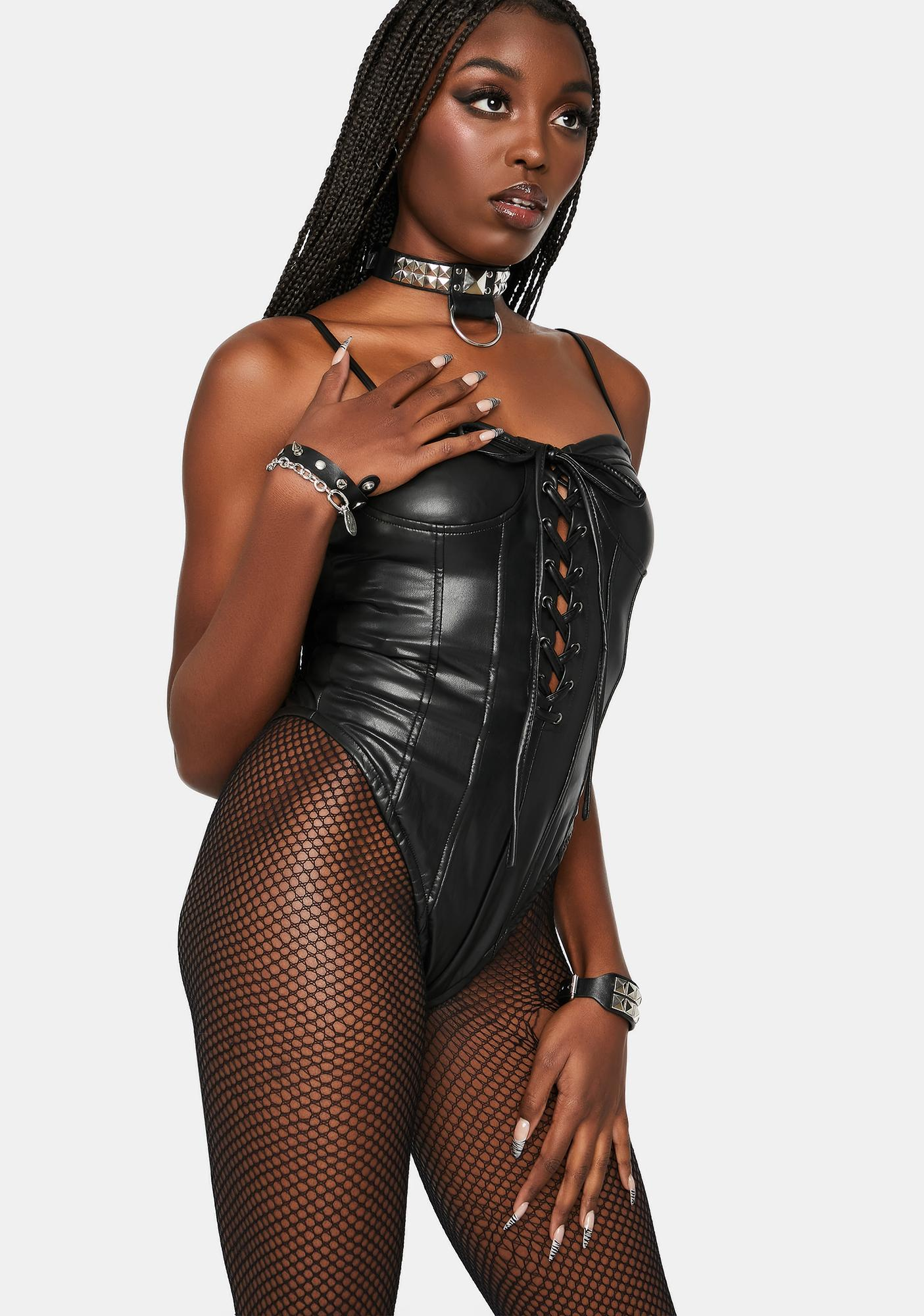 Body-ody Vegan Leather Lace-Up Bodysuit