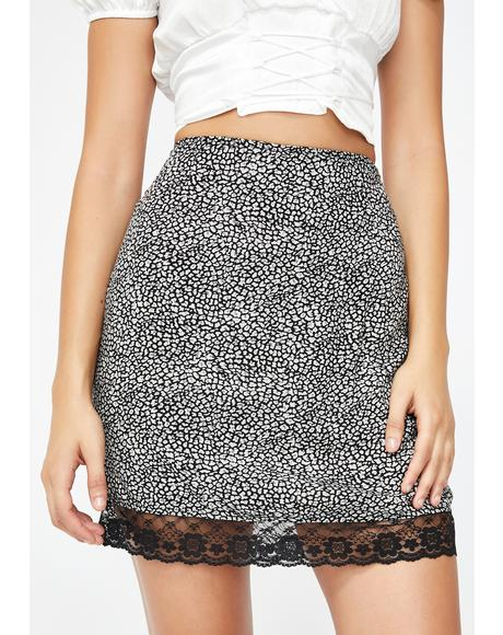 Grey Ditsy Leopard Urila Mini Skirt