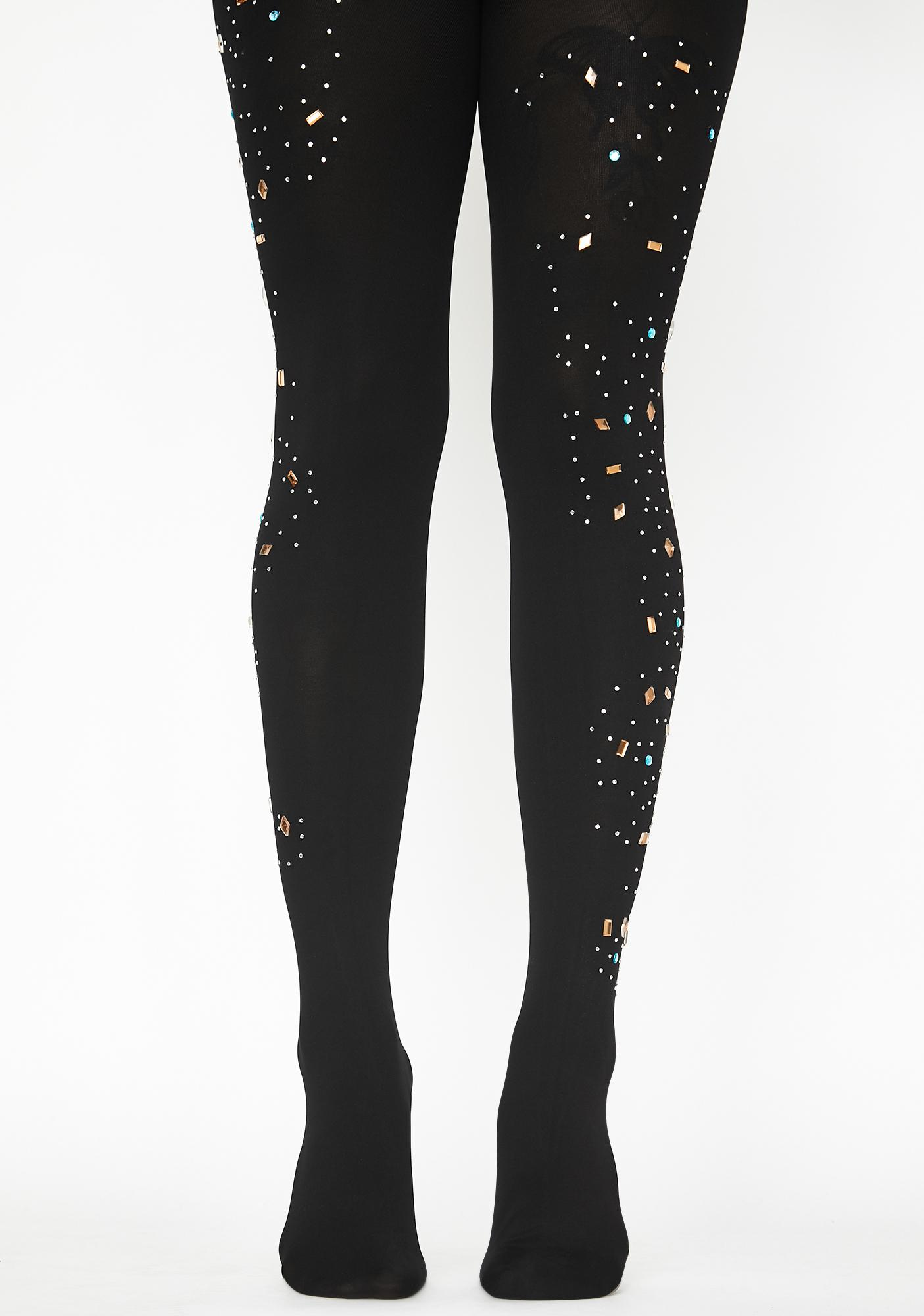 MeMoi Constellation Embellished Opaque Tights