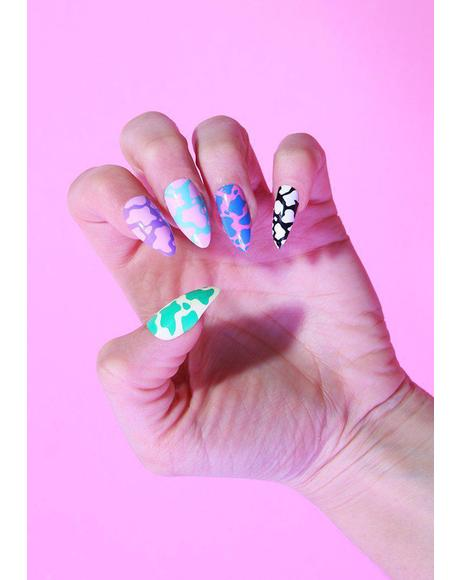 X Alice MC Cow Print Press On Nail Set