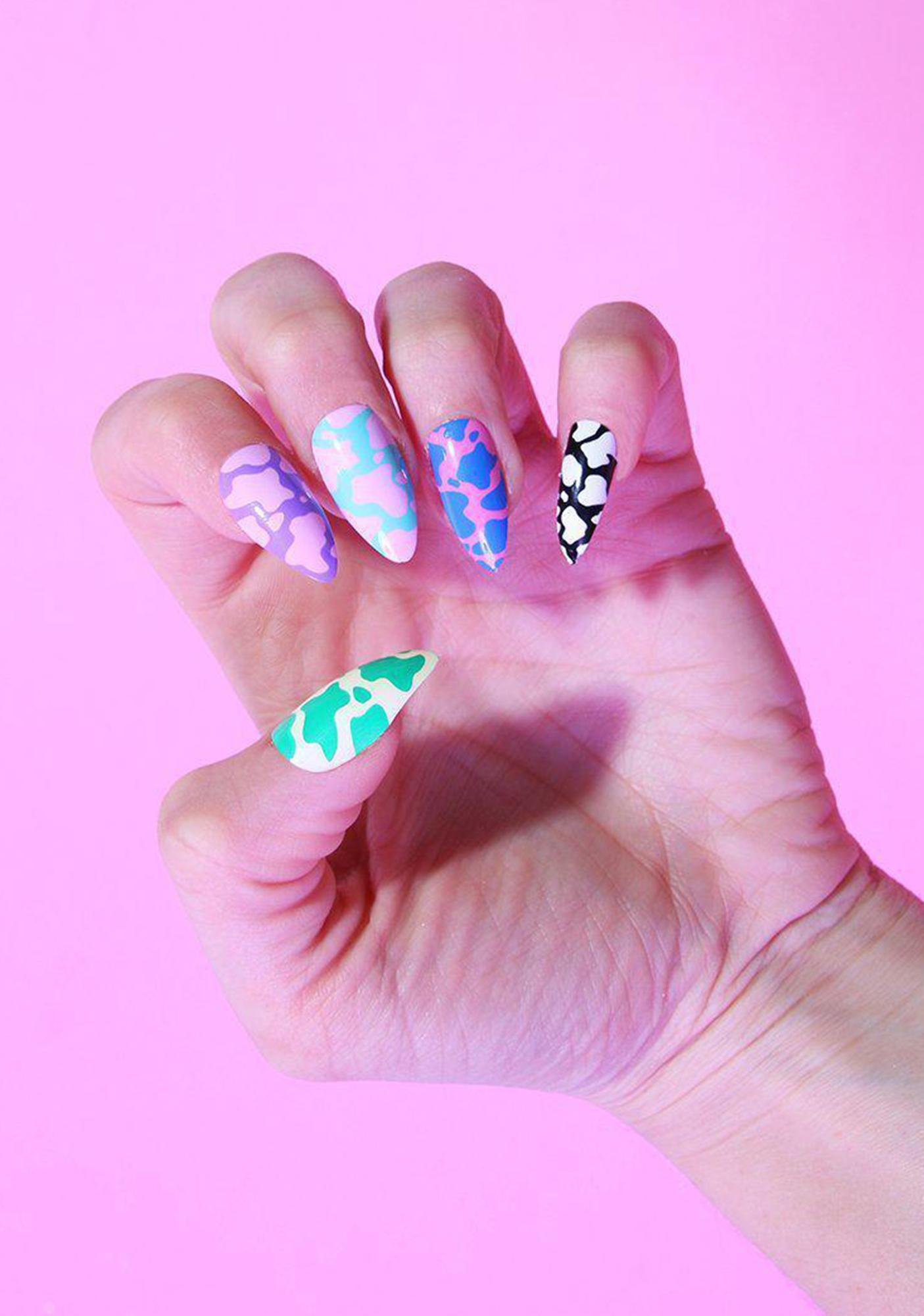 SHRINE X Alice MC Cow Print Press On Nail Set
