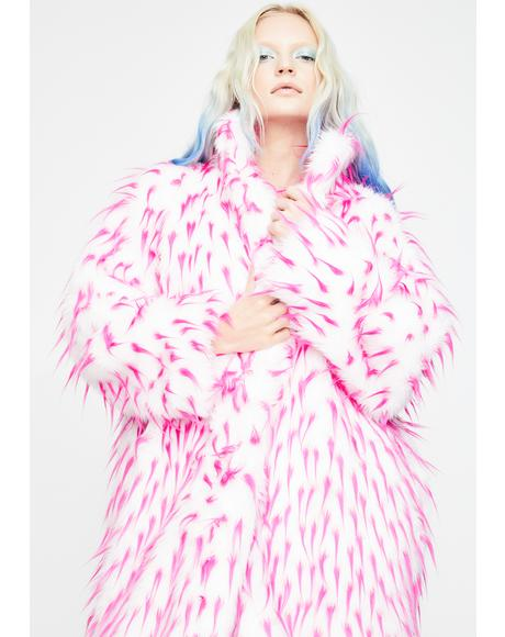 Pink Tipped Faux Fur Coat