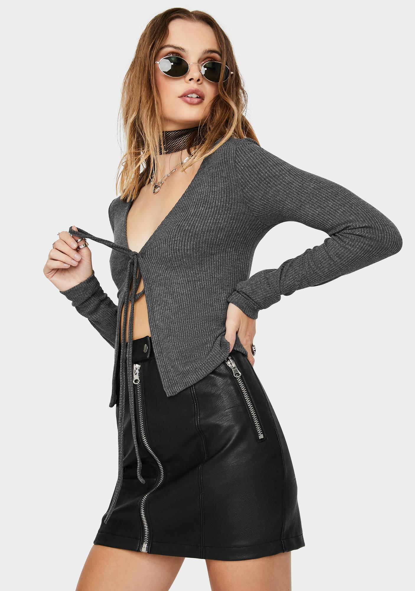 Kiki Riki Charcoal So Over It Front Tie Sweater