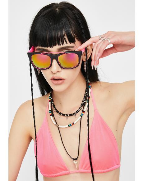 Neon Pink '80s Fun Sunglasses