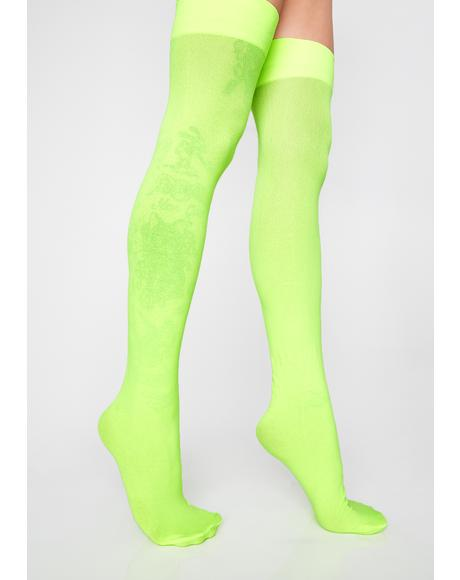Lime FreakNik Neon Thigh Highs
