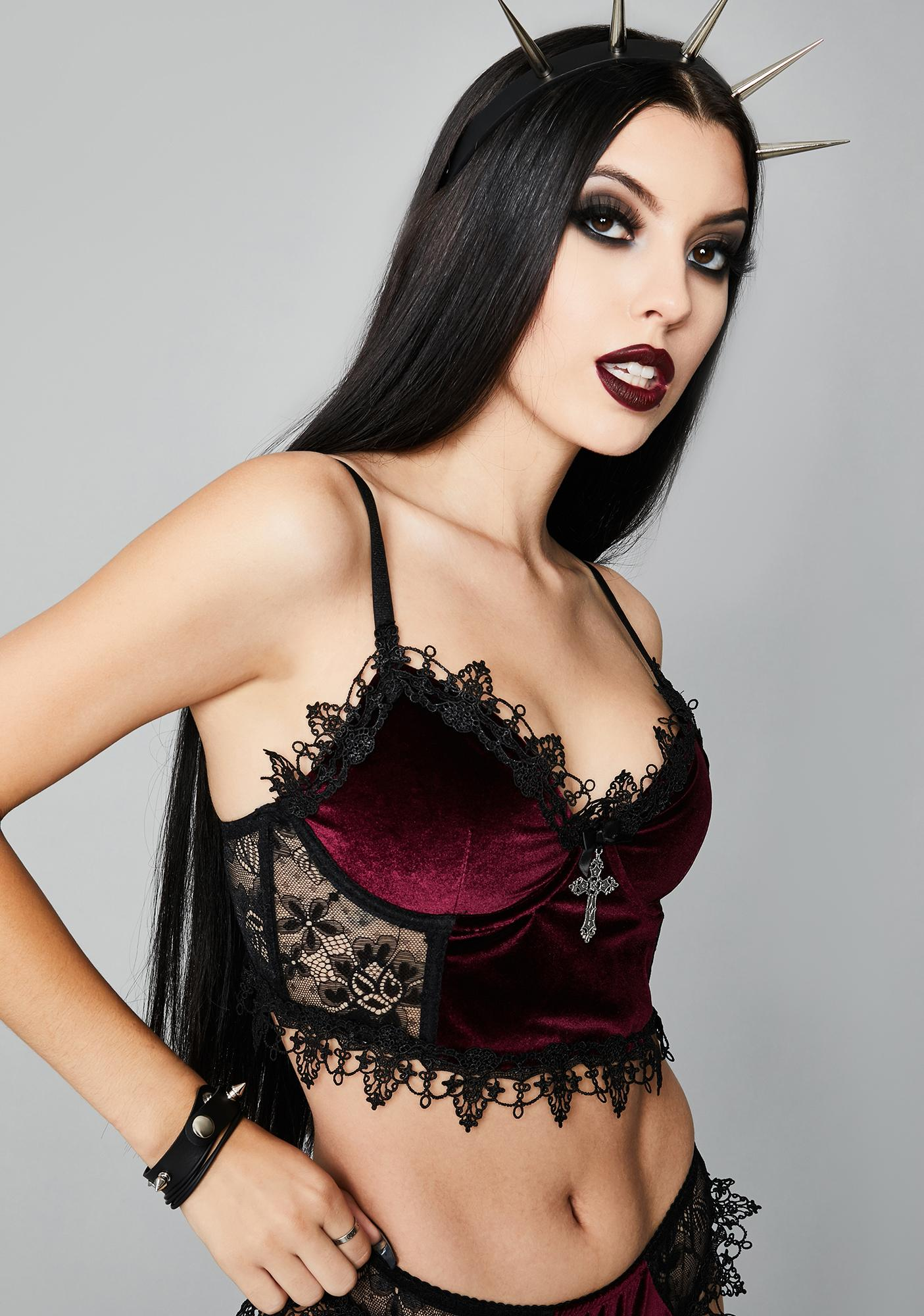 Widow Crimson Morphine Eyes Velvet Bra