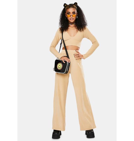 Motel Tan Velvet Rib Obeli Trouser