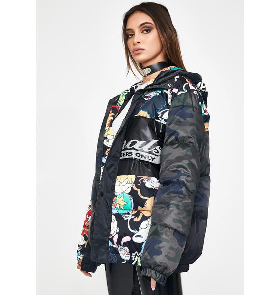 Members Only Nickelodeon Camo Puffer Jacket