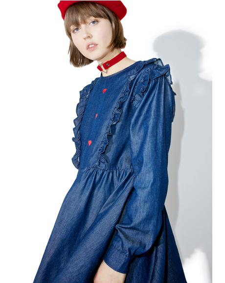 Frilly Denim Dress