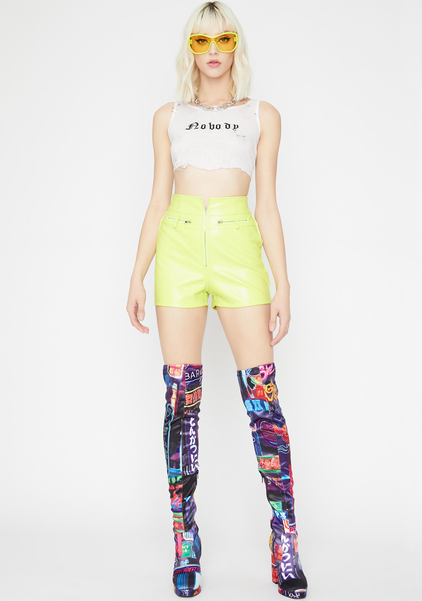 Slime Group Chat High Waist Shorts