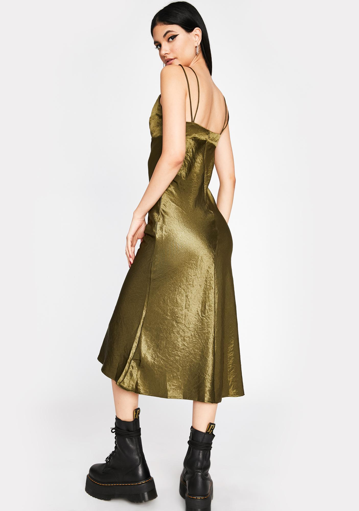 Don't Speak Satin Midi Dress