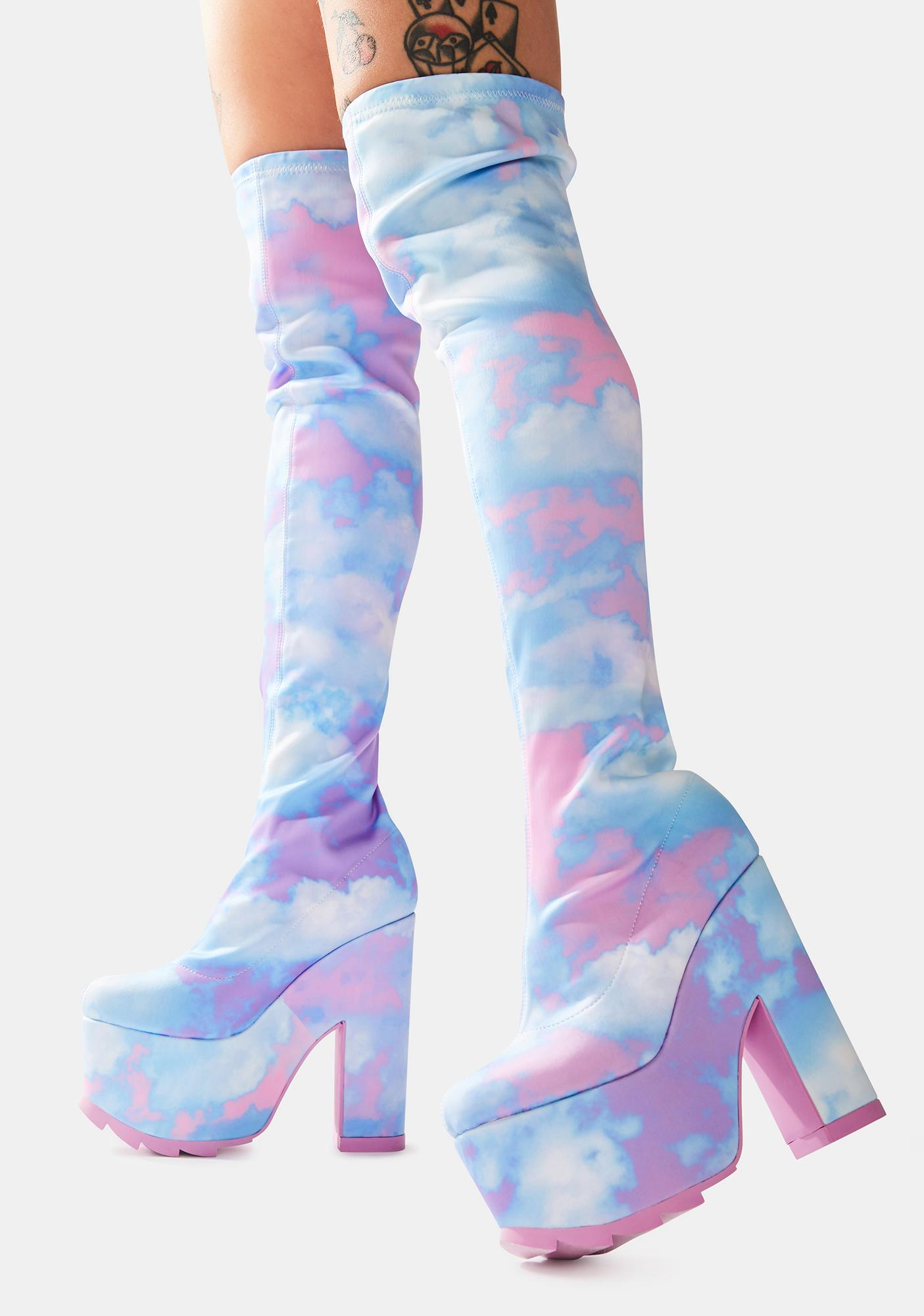 Y.R.U. Labyrinth Pastel Cloud Thigh High Platform Boots