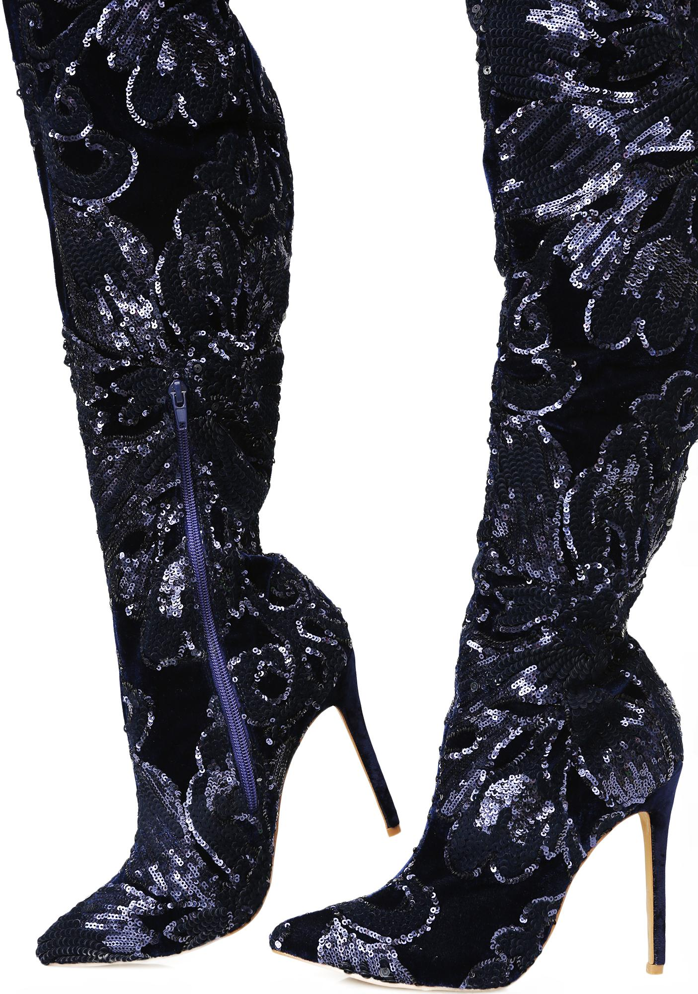 sequin thigh high navy blue boots dolls kill