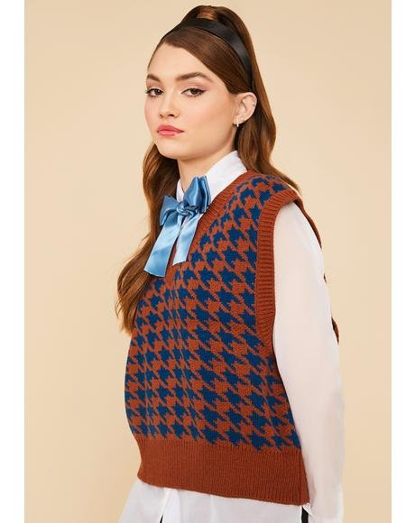 Cocoa Somebody Told Me Houndstooth Sweater Vest