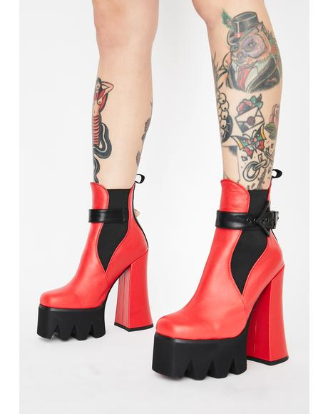 Red Perceptions Platform Booties