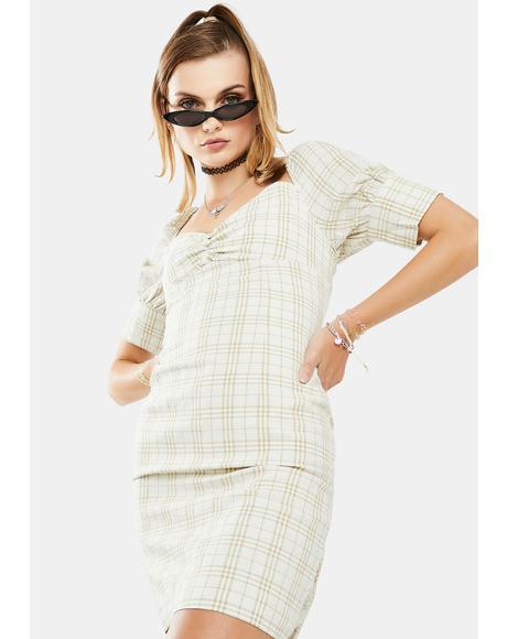 Sage Checkered Mini Dress