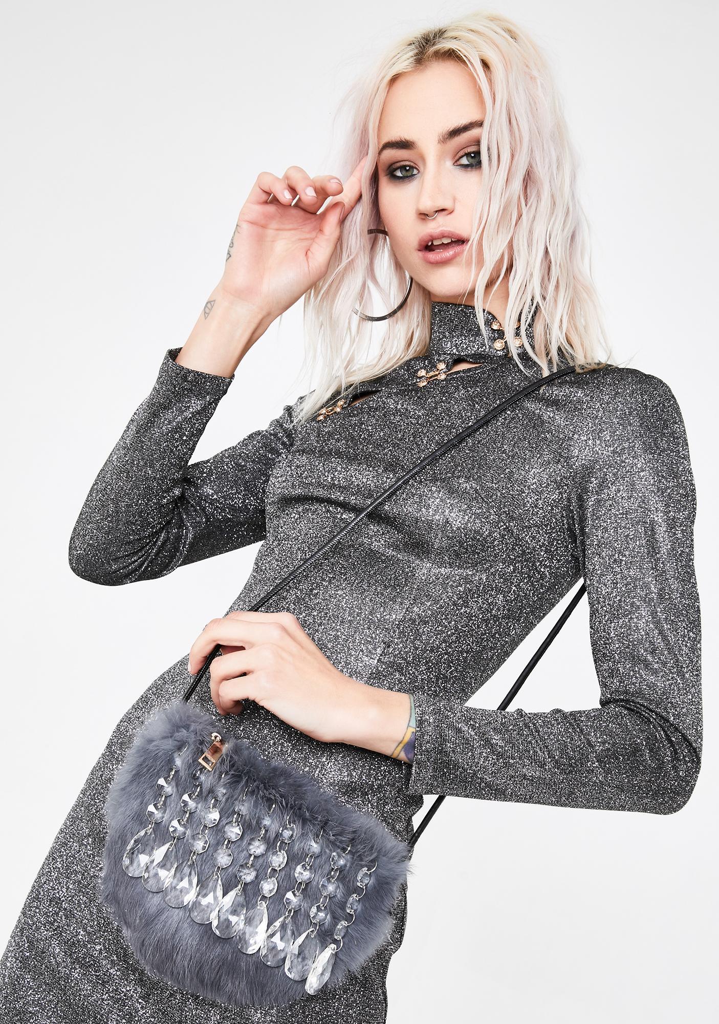Crystal Chandelier Faux Fur Purse