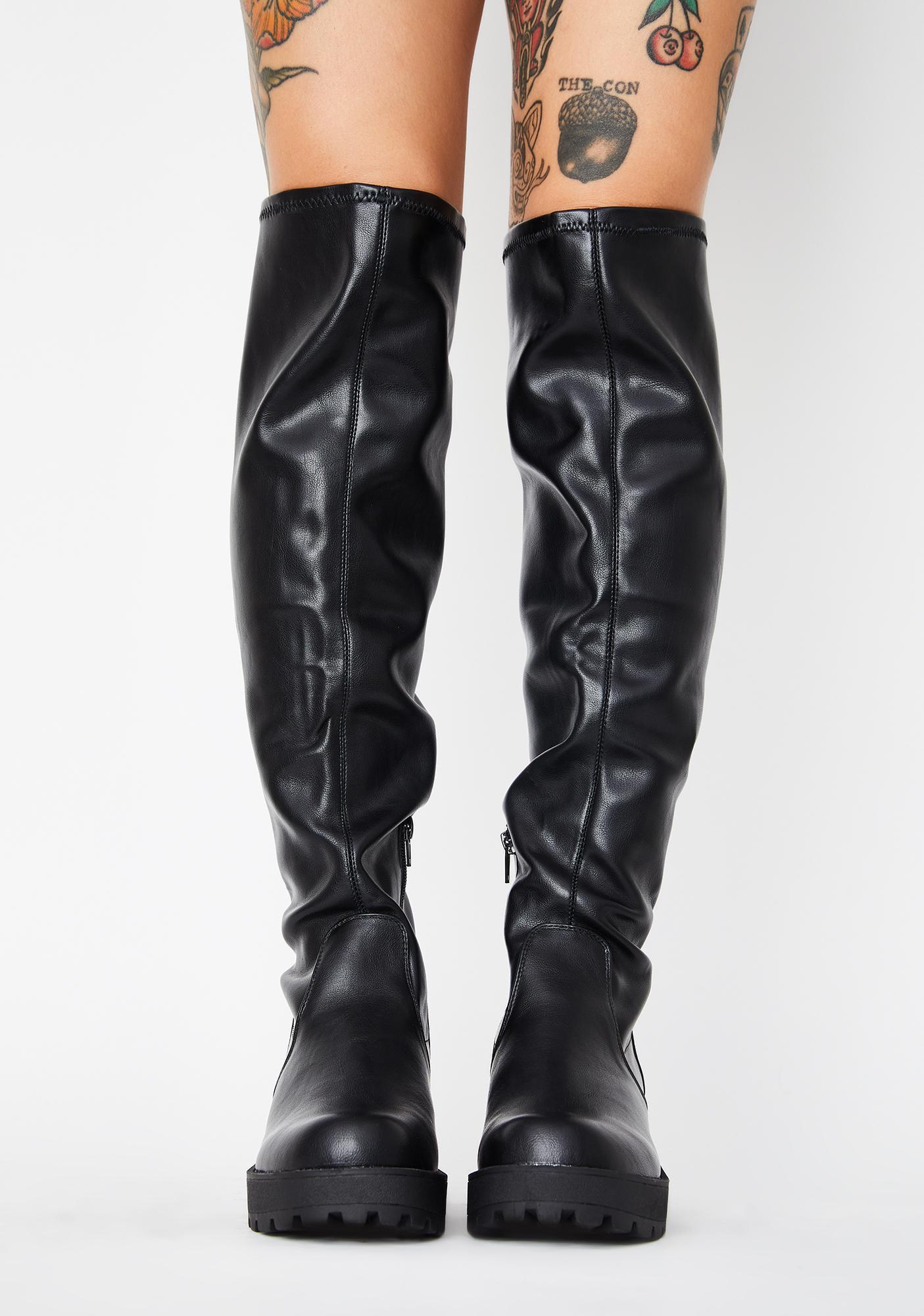 Lust For Life PU Passport Knee High Boots
