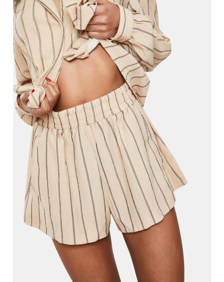 Tan Stripe Carefree Lounge Shorts