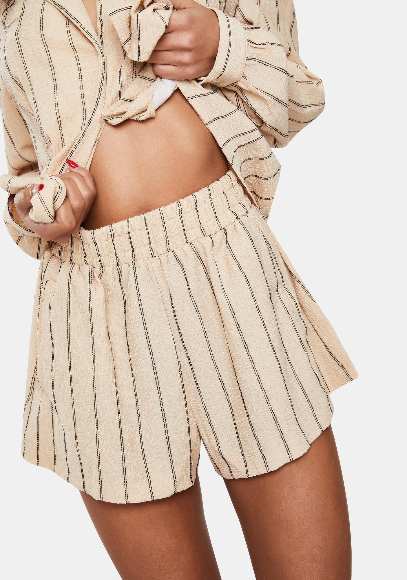 Dippin' Daisy's Tan Stripe Carefree Lounge Shorts