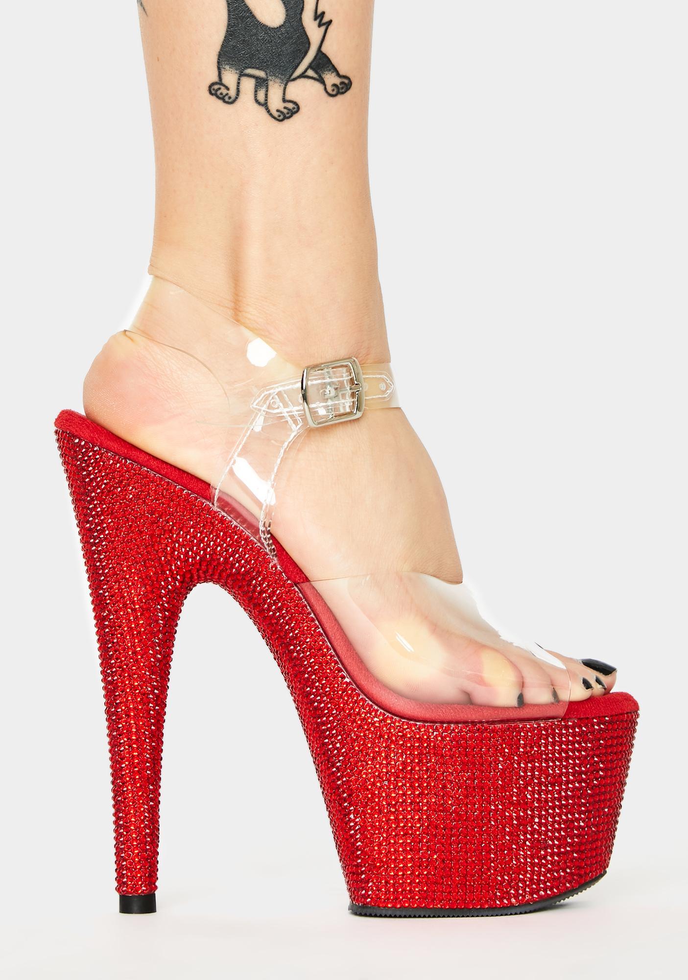 Pleaser Ruby Bejeweled Platform Heels