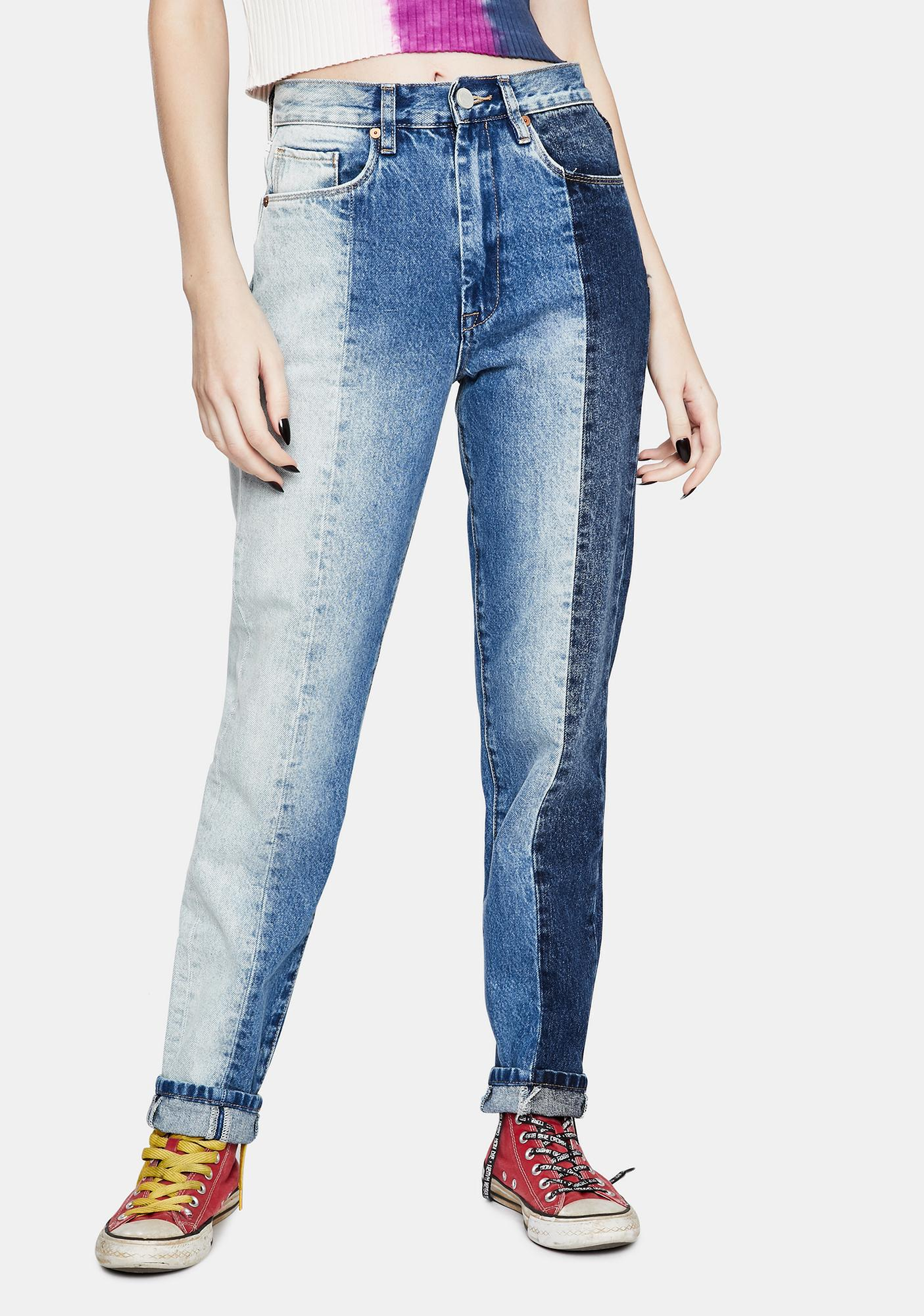 Blank NYC All Or Nothing Patchwork High Rise Jeans