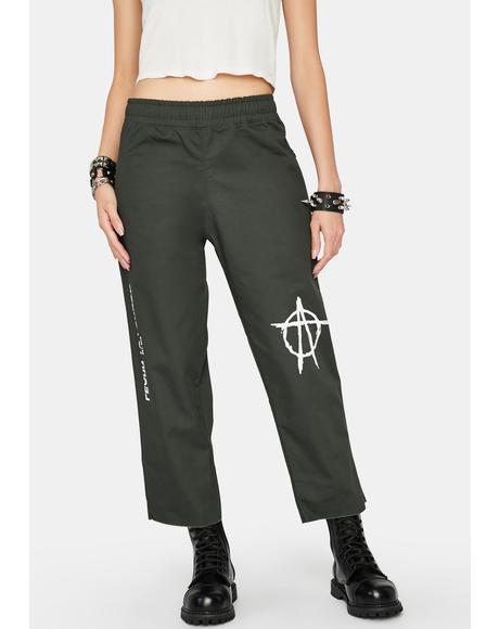 Green Anarchy Logo Chino Pants
