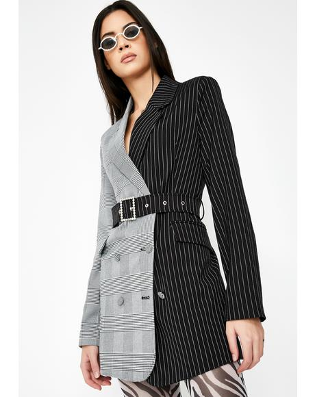 Half & Half Blazer Dress With Diamante Belt