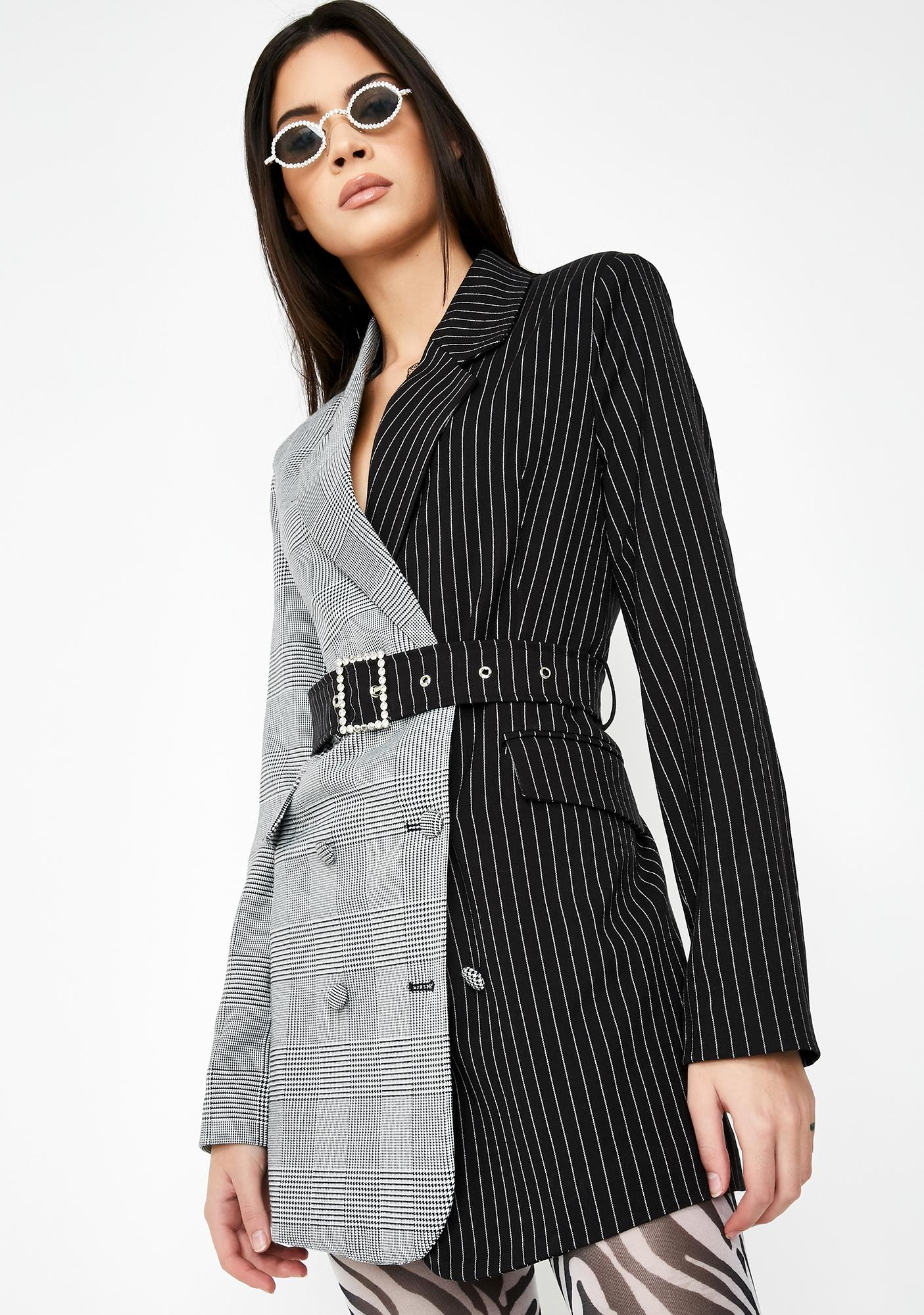 Half & Half Blazer Dress With Diamante Belt by Jaded London