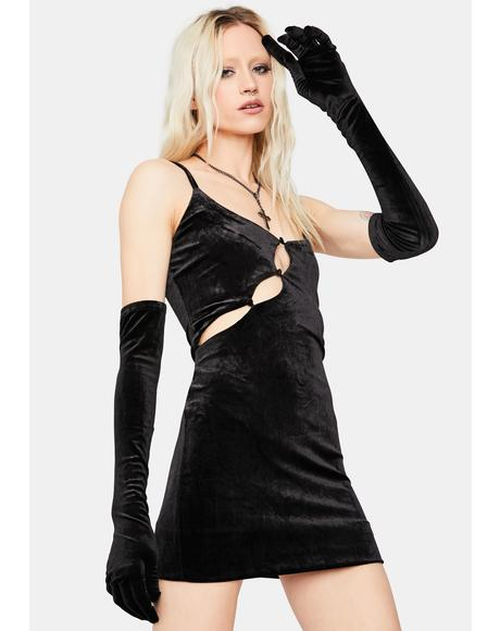Reckless Nights Velvet Cutout Mini Dress