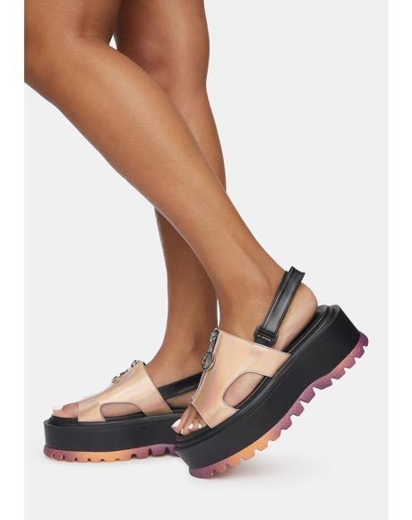 Crimson Platform Sandals