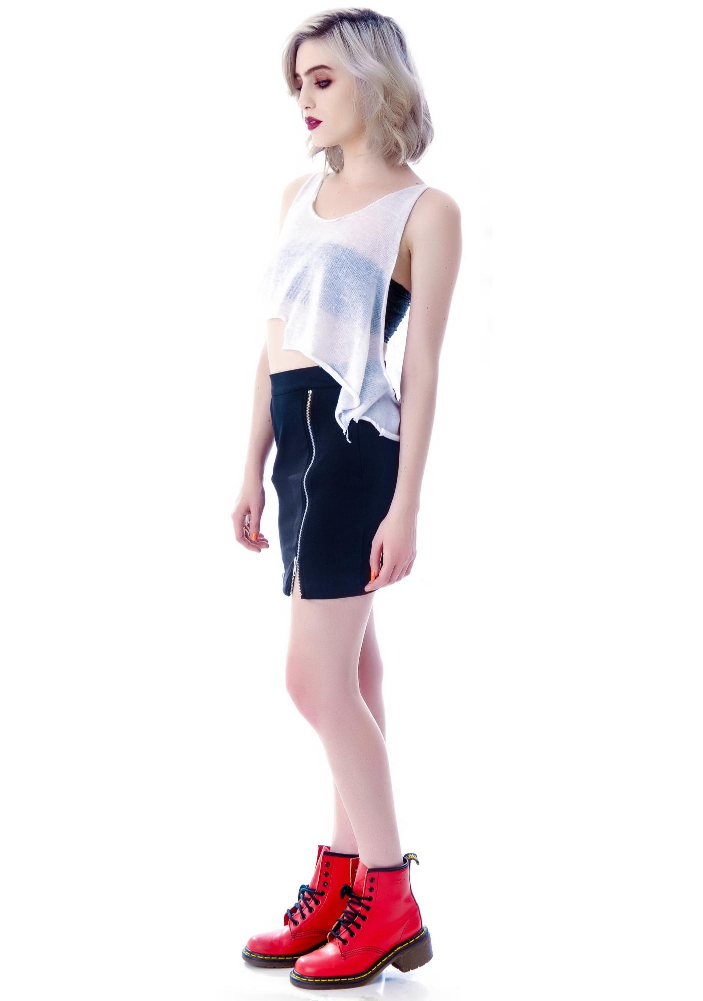 Widow Black Ice Double Zip Ponti Skirt