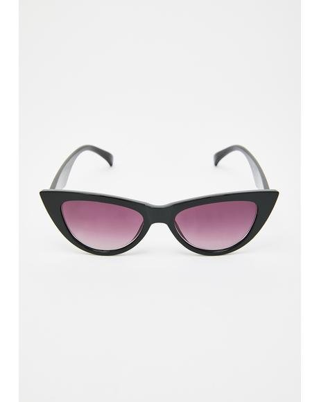 Midnight Hollywood Babe Cat Eye Sunglasses